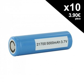 Lot d'accus 21700 10A 5000mAh 50E x10